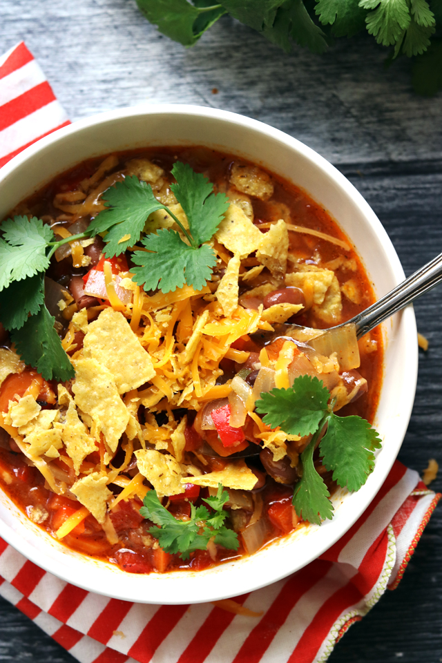 Loaded Pinto Bean and Tortilla Soup