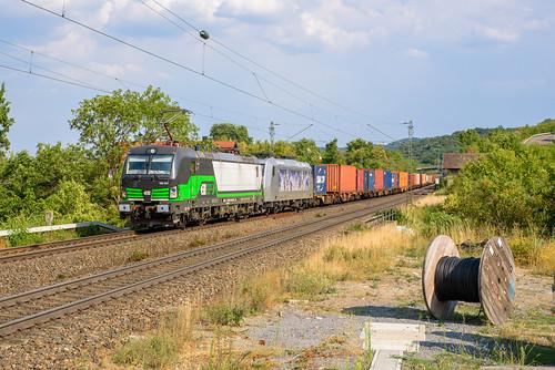 TXL 193 231 + 185 540 met Wolfurt containershuttle, Burgbernheim