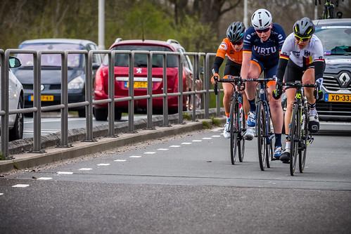 After 68 km. Breakaway of three, Romy Kasper, Mieke Kröger and Nicole Steigenga,