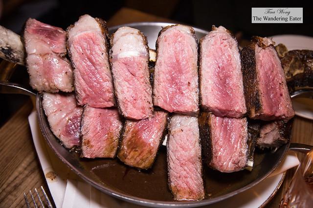 Côte de bœuf pour deux - 50-ounce Tomahawk rib eye steak, roasted bone marrow and bordelaise sauce
