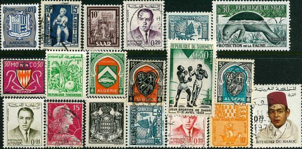 Známky 17 ks rôznych, Francúzske kolónie