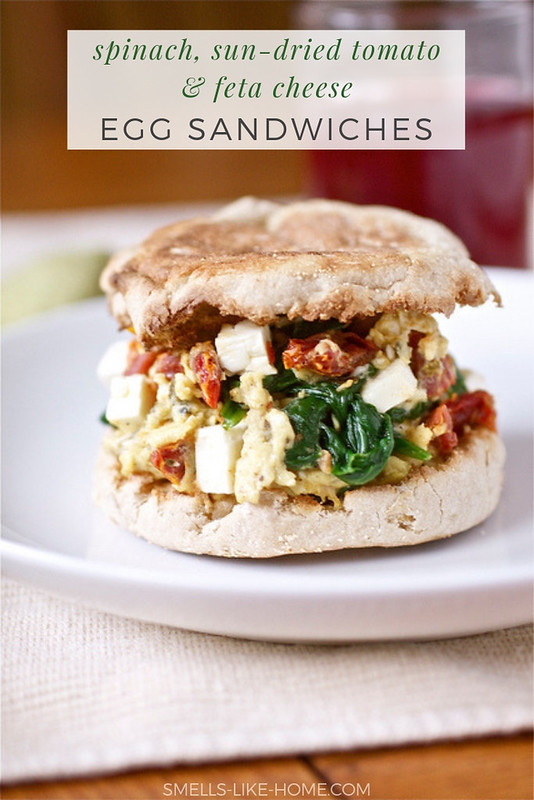 Spinach Feta and Sun-Dried Tomato Egg Sandwiches