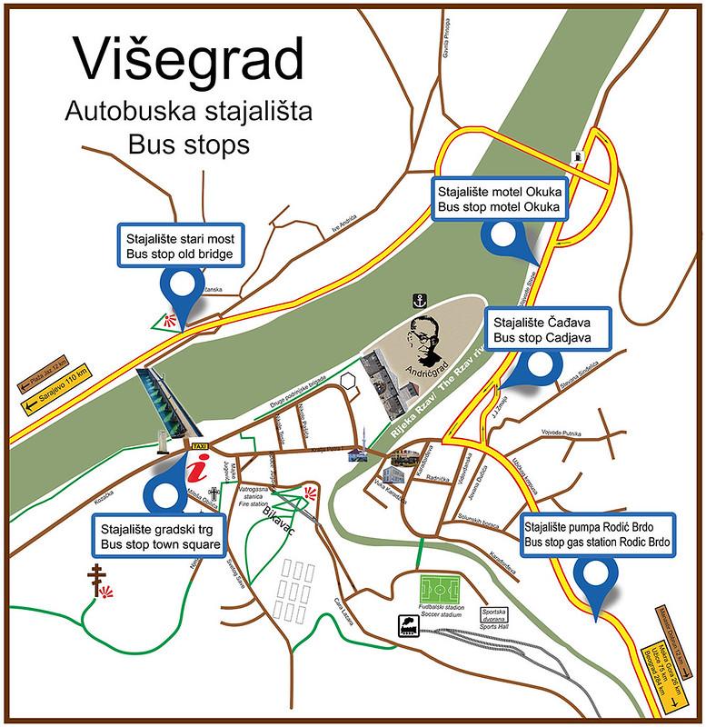 Карта Вишеграда с автобусными остановками