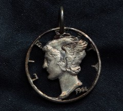 Mercury Dime ( Winged Liberty Dime) pendant