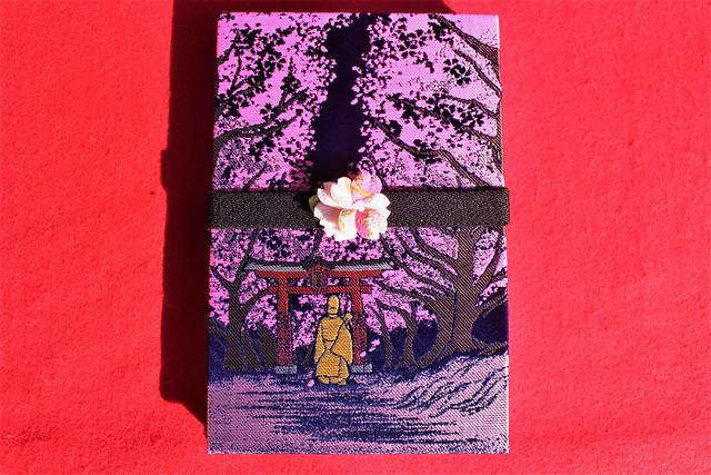 東蕗田天満社のオリジナル御朱印帳「夜桜 和歌御朱印帳」