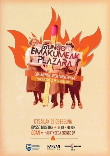 Cartel presentación del Documental Irungo emakumeak plazara!