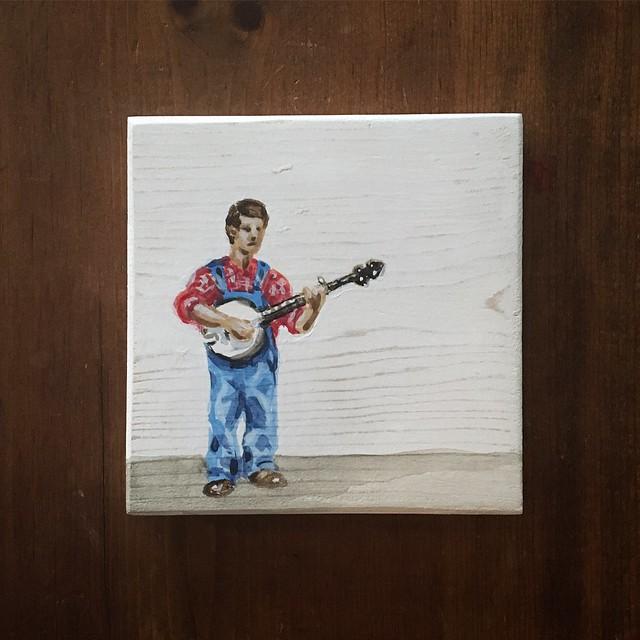 Banjo player - acrylic on wood