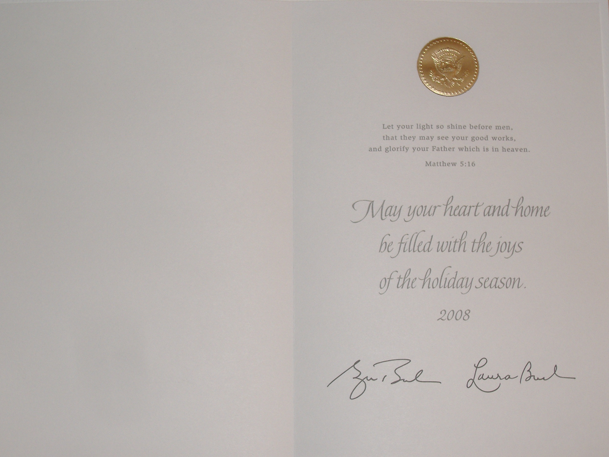Christmas card from U.S. President George Bush and First Lady Laura Bush, 2008.