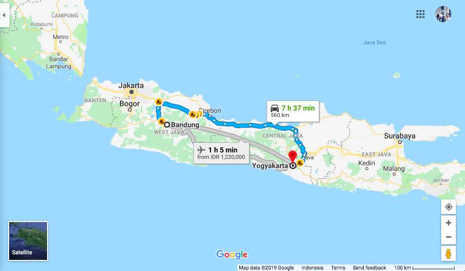 Map Bandung to Yogya
