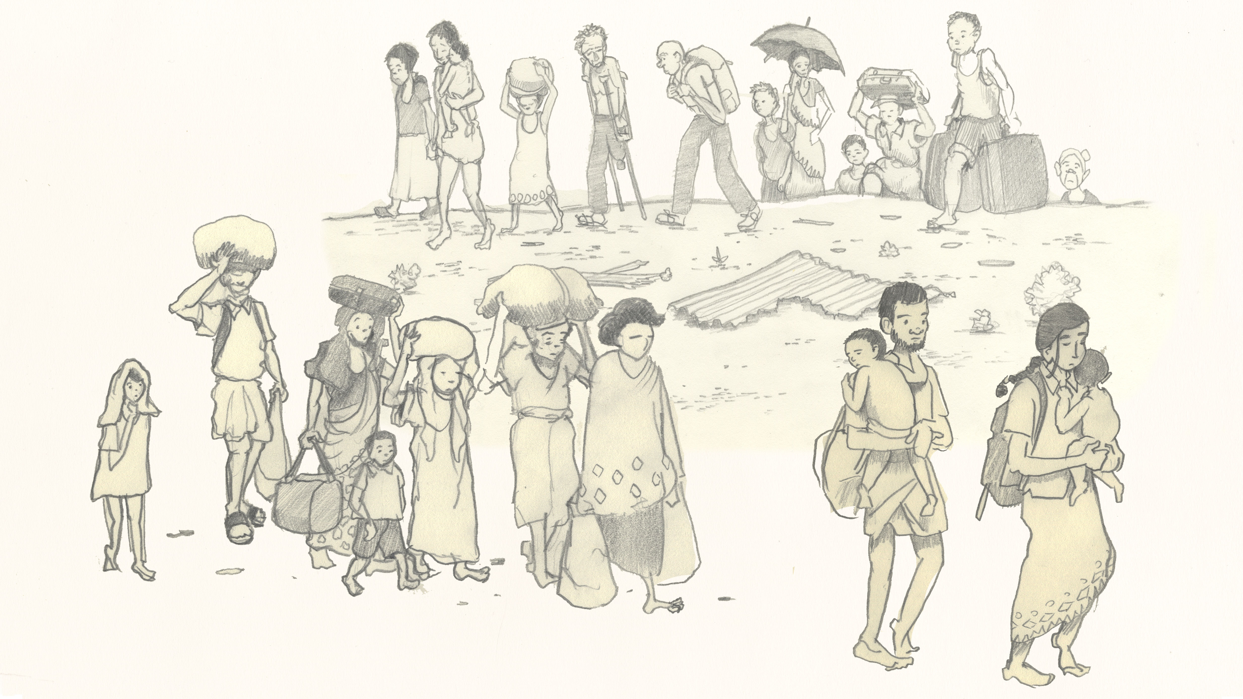 Cartoon illustration of people fleeing from a conflict with babies, luggage etc