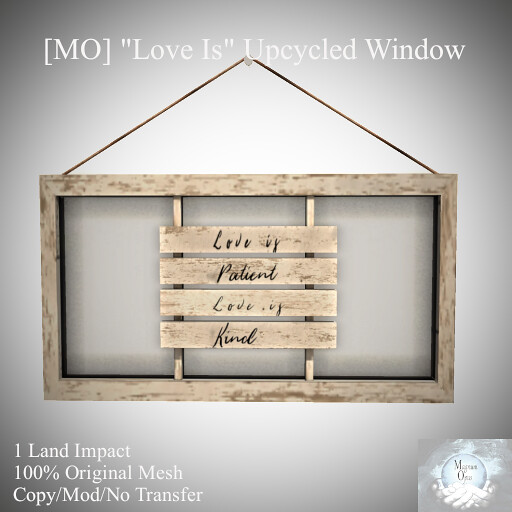 """Love Is"" Upcycled Window"