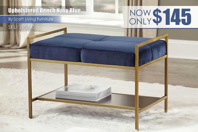 Upholstered Bench Navy Blue_Scott Living_190645