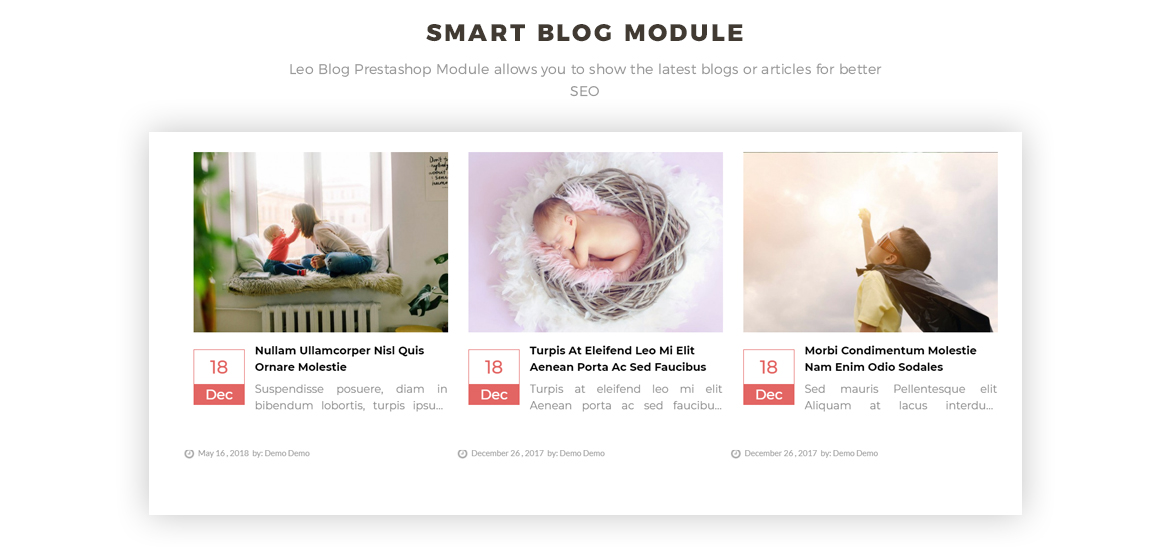 Smart blog module-Leo Bibomart Prestashop theme for Baby and Kid Store