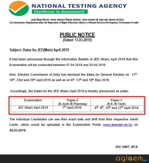 NTA Declares JEE Main 2019 April Exam Dates; Individual Date Allotment Via Admit Card From 20 March