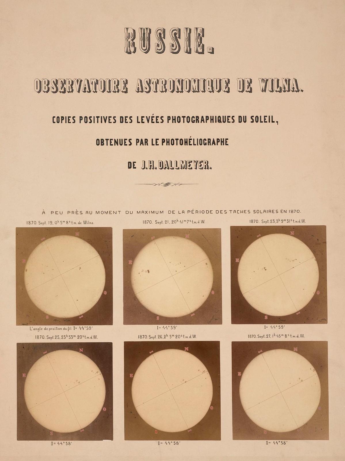 Солнце, сфотографированное гелиографом Далльмайера, Вильна, 1870