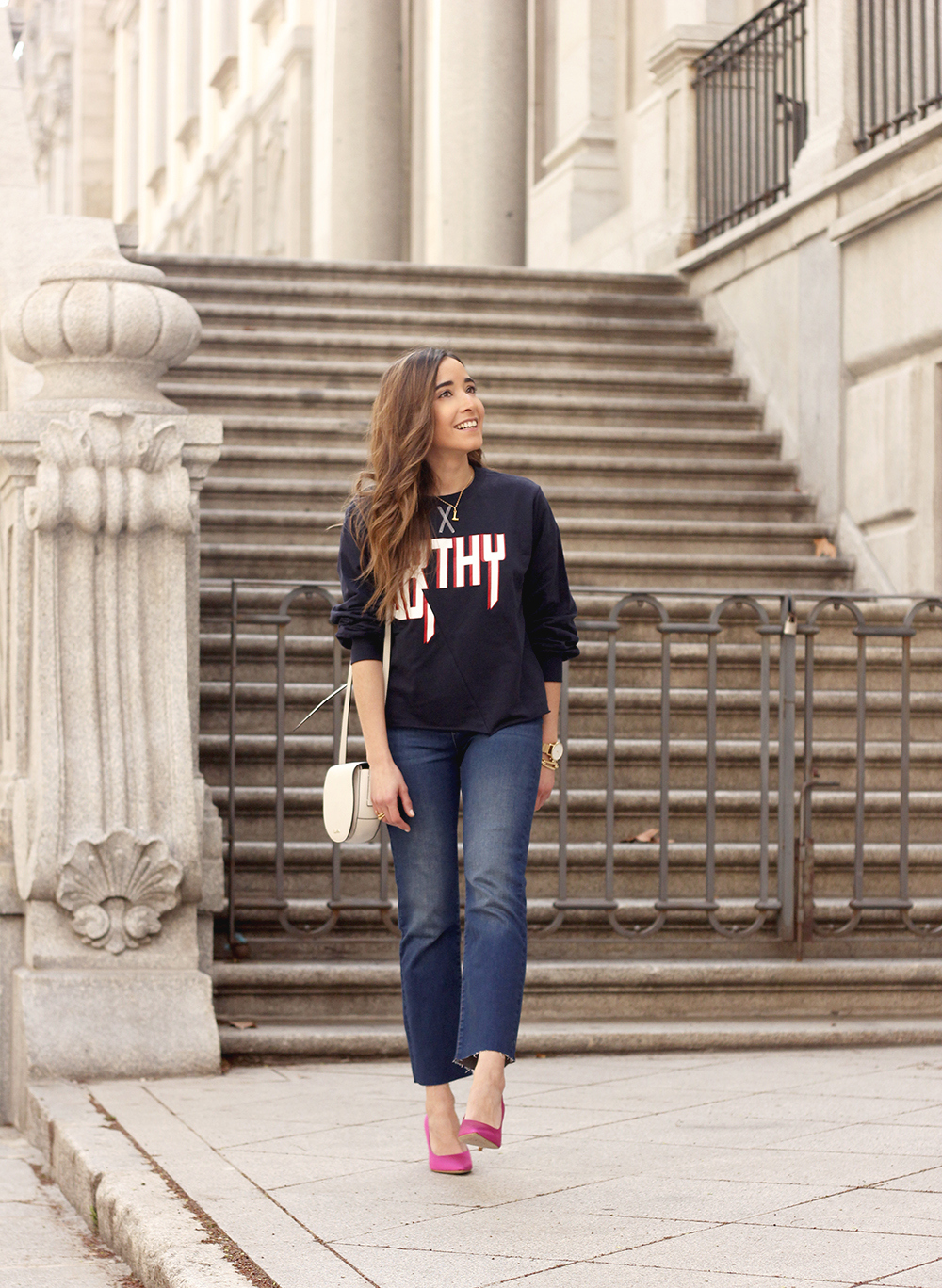 sweatshirt pink heels jeans find amazon fashion street style outfit 20191