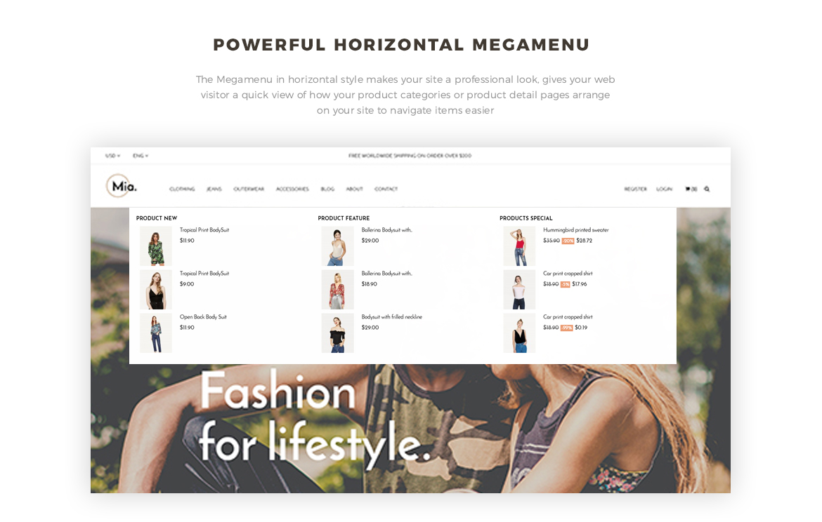 powerful mega menu- Leo Mia-Clothing and Accessories Prestashop theme