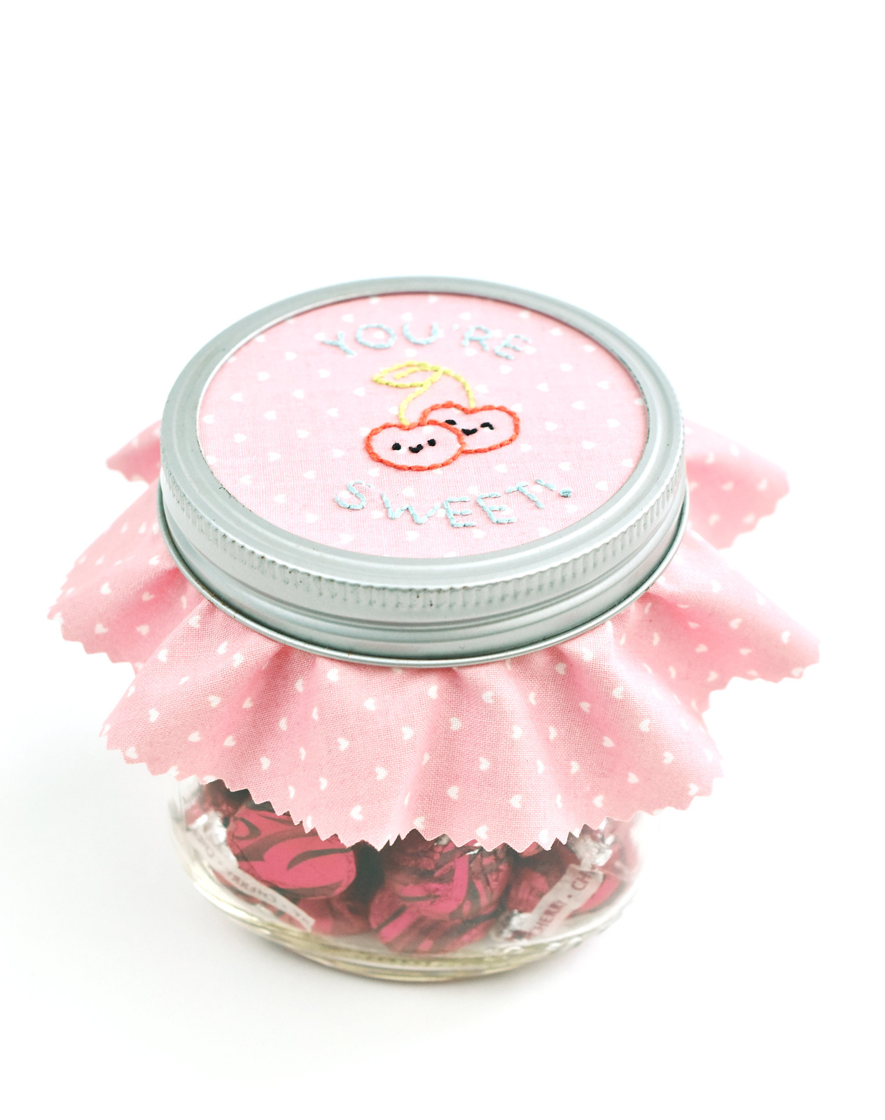 You're Cherry Sweet Embroidered Jar Topper