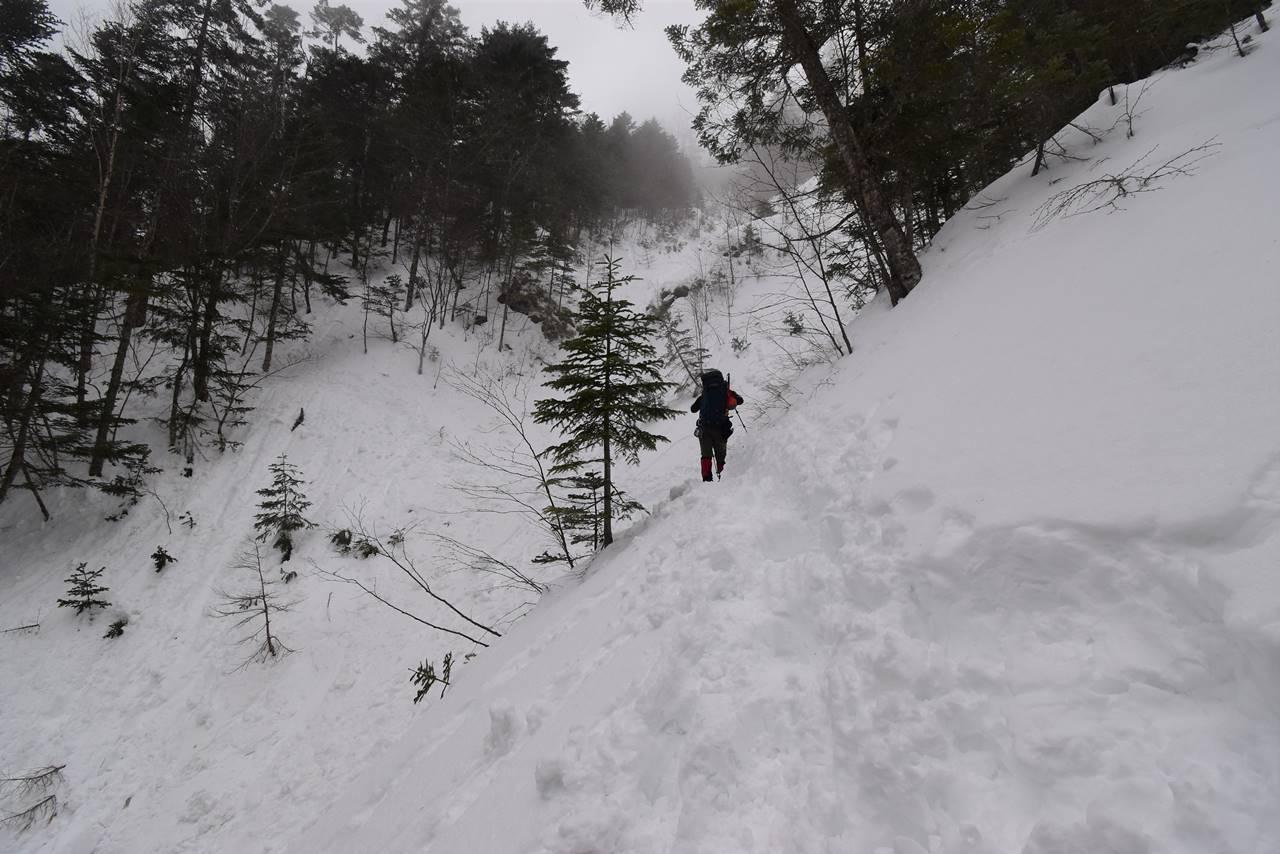 三伏峠小屋までのトラバース登山道