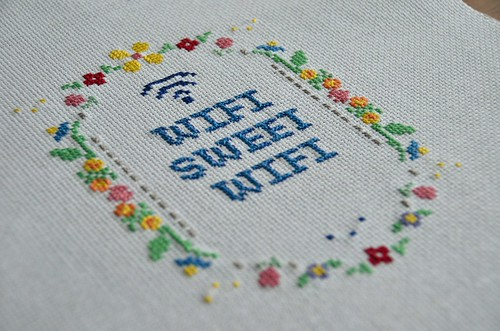 Wifi Sweet Wifi Cross Stitch with space for network name + password