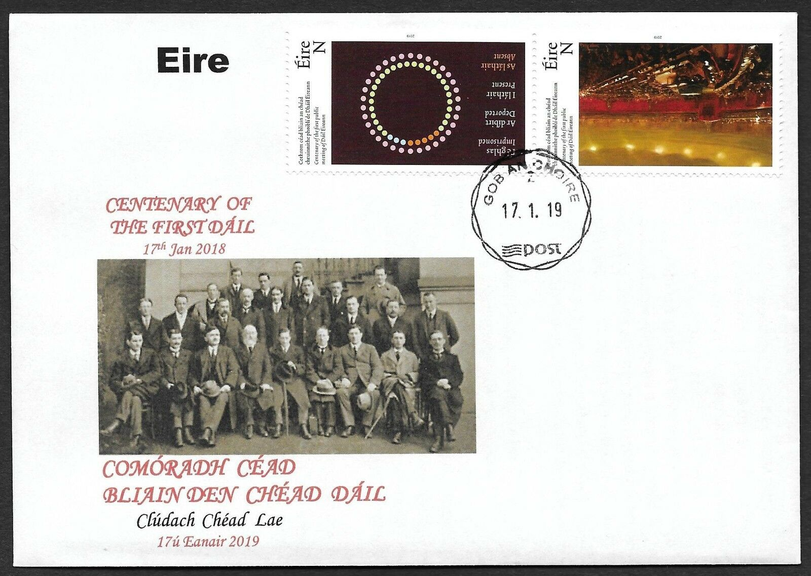 Ireland - 100th Anniversary of the 1st Public Meeting of Dáil Éireann / Lower House of the Irish Parliament (January 17, 2019) unofficial first day cover