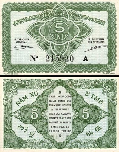 5 Centov Francúzska Indočína 1942, P88a