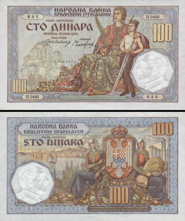 100 Dinárov Juhoslávia 1934, P31