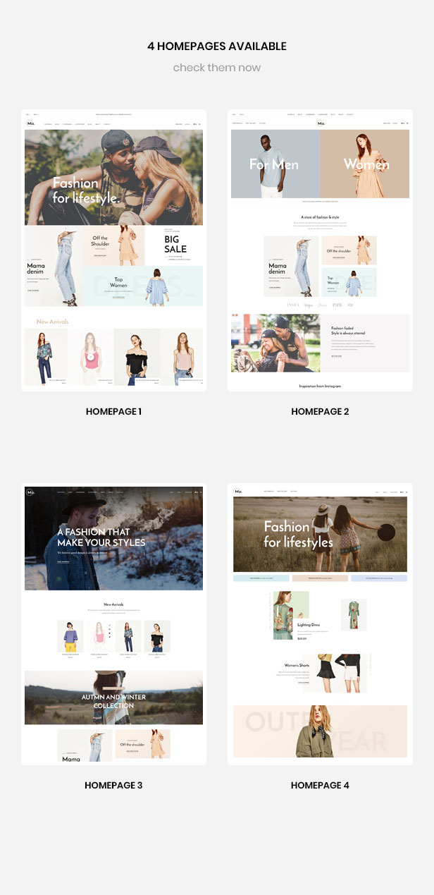 multiple homepages for Food store, Cakery store, Coffee shop, pizza store