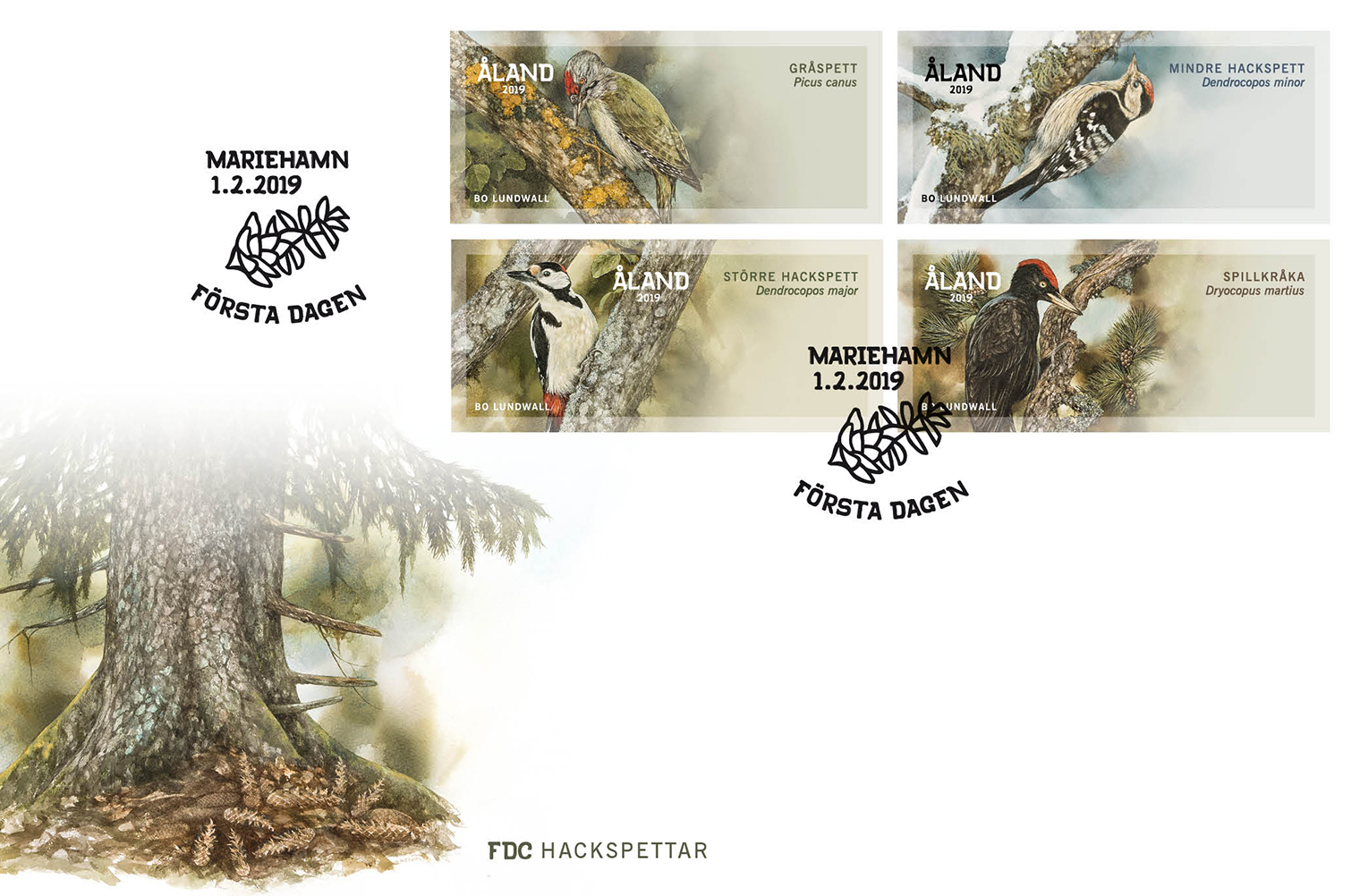 Åland - Woodpeckers ATM Franking Labels (February 1, 2019) first day cover