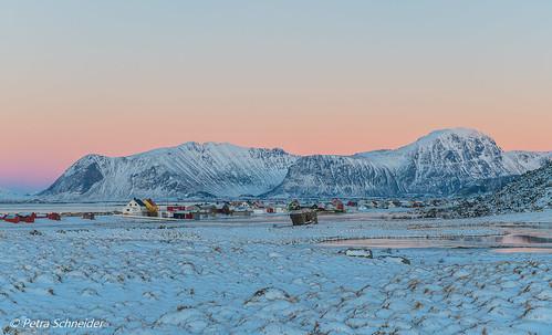 Arctic winter light on fishing village Eggum, Lofoten