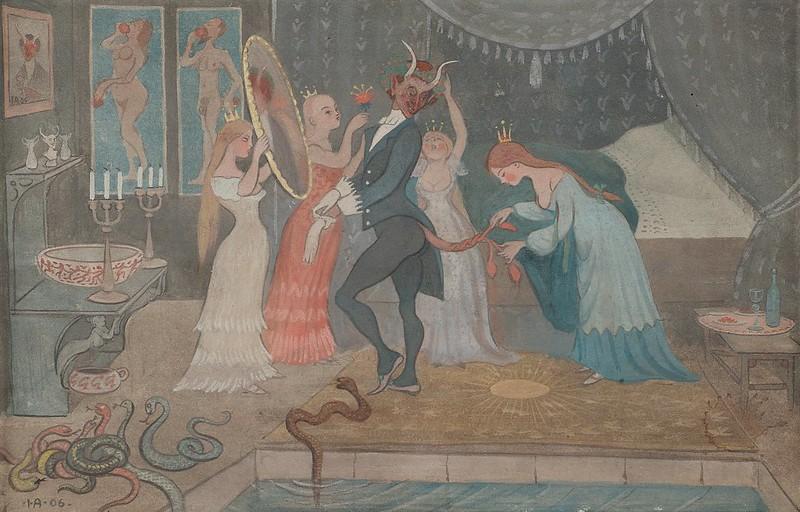 Ivar Arosenius - The Bridegroom Dressed, 1906