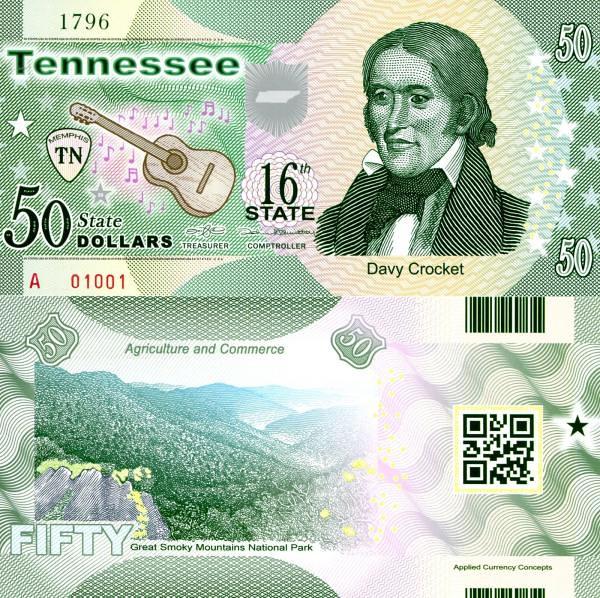 USA 50 Dollars 2015 16. štát - Tennessee polymer