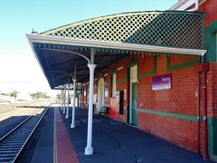 Kerang. The railway station platform supported by fine cast iron pillars. The railway reached here in 1884 and this station was built in 1912.