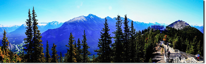 A panoramic view of Mount Rundle, Banff Gondola Station and Sulphur Mountain from Sanson Peak