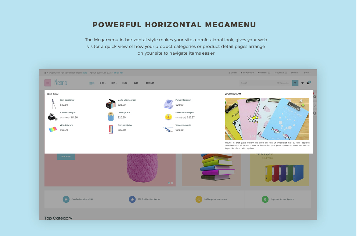 powerful vertical mega menu- Leo Neons - Stationery Prestashop theme
