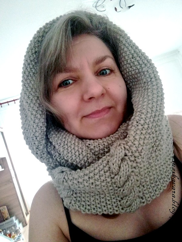 cowl, infinity cowl, himalayasupersoft, beige, knitting
