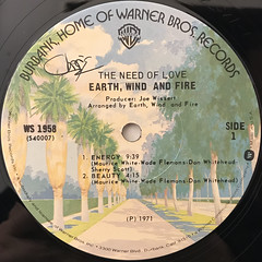 EARTH, WID AND FIRE:THE NEED OF LOVE(LABEL SIDE-A)