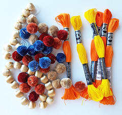 beads, pom poms and embroidery threads