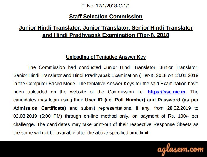 Official notice for SSC Answer Key