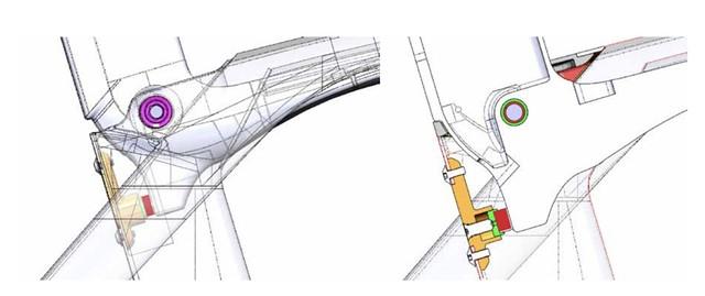 Madone ダンパーのCAD モデル(左 - ドライブ側から見たメインフレームの透視図、右 - フレーム中央断面図)
