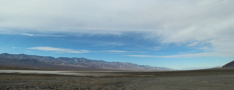 Panorama view northwest from the parking area at Sidewinder Canyon in Death Valley