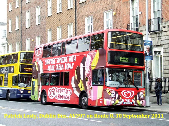 Route 8, O'Connell Street to Dalkey, Dublin Bus, AV397, 30 September 2011