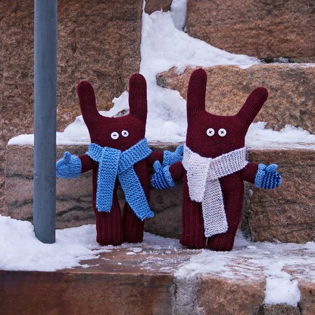 Twins with their new scarves and mittens