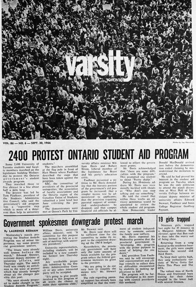 varsity 1966-09-30 front page