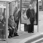 Bus stop folk in Preston