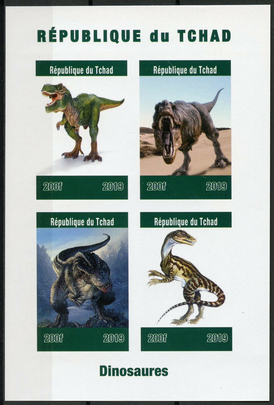 Republic of Chad - Dinosaurs (January 1, 2019) sheet of 4, imperforate