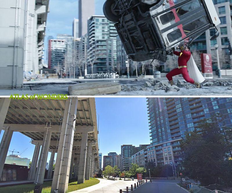 Toronto viaduct falling bus scene