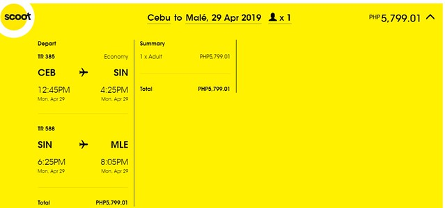 Scoot Cebu to Maldives Promo
