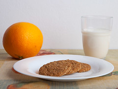 Biscuit, milk and orange