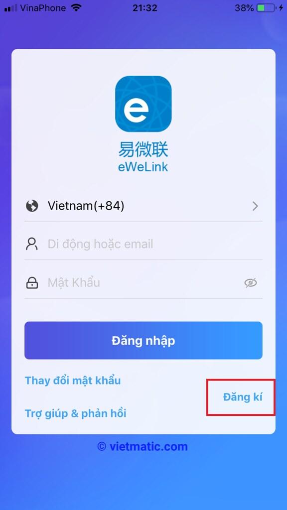 Trang màn hình đăng ký tài khoản eWelink